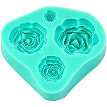 4 Tamaño Rosa Flor de silicona del molde de la torta Decoración Fondant Fimo Sugarcraft
