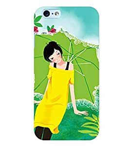 Printvisa Yellow Dressed Girl With An Umbrella Back Case Cover for Apple iPhone 6 Plus