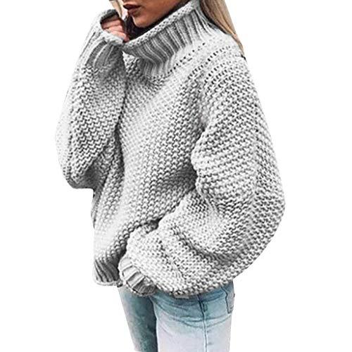 Xiangdanful Herbst Winter Warm Sweater Damen Rollkragen Strickpullover Pullover Hoodies Pulli Casual Knitted Strickwaren Lockeres Langarmshirt Freizeit Einfarbig Oberteile Bluse Tops (S, Grau) -