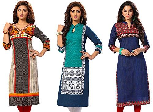 Jevi Prints Women's Kurti Fabrics (Pack Of 3) (Saheli-1511-1513-1523_Multi-Coloured)