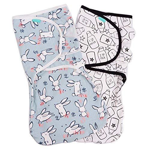 Lekebaby Baby Pucksack Neugeboren - 2er Pack Universal Verstellbare Schlafsack Decke für Säuglinge Babys Neugeborene 0-3 Monate Unisex