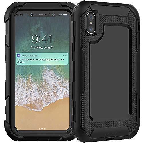 3C-LIFE iPhone XS Max Heavy Duty Case, Triple Protective Layer Full Body Shockproof Bumper Case with Swivel Belt Clip and Kickstand für (Black) Cellular Connection Interface