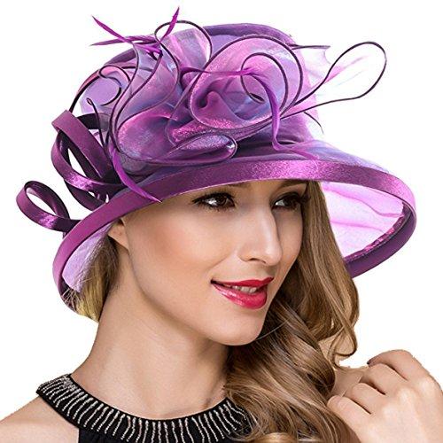 Ruphedy Königliche Ascot Derby Cloche Hüte der Frauen britische Kirchen-Kleid-Tee-Party Eimer Hut S051 ()