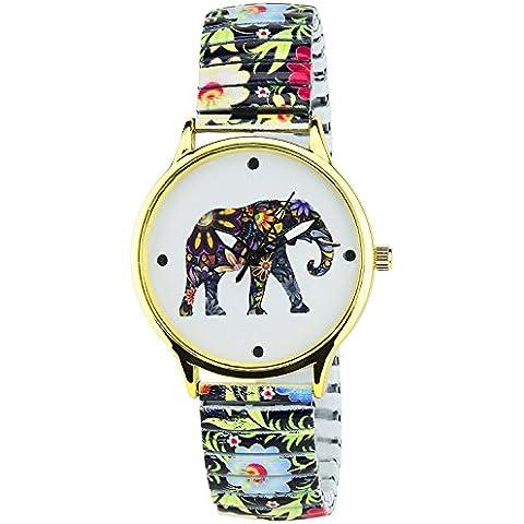 Montre-Concept - Orologio analogico donna - cinturino metallo multicolore quadrante tondo colore oro sfondo bianco elefante