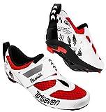 Scarpe da ciclismo Triseven Premium Triathlon, suola ultraleggera, traspirante e in fibra di vetro. La scarpa più veloce nella zona di transizione!, rosso/bianco, 46