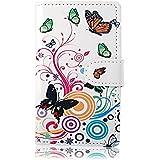 Best Give Schmetterling Blume Flip Leder Tasche Schutzh�lle f�r Samsung Galaxy S2 S II I9100 Case Cover Ledertasche H�lle Etui Schale Book Style Brieftasche mit Kartenf�cher (Schmetterling wei�)