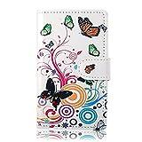 Best Give Schmetterling Blume Flip Leder Tasche Schutzhülle für Samsung Galaxy S2 S II I9100 Case Cover Ledertasche Hülle Etui Schale Book Style Brieftasche mit Kartenfächer (Schmetterling weiß)