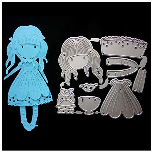Kaiboo DIY Juego de Troqueles,Cutting Pad Replacements para Máquina Troqueladora y Estampadora,Die Planta,Scrapbooking Regalo(Long Hair Girl)