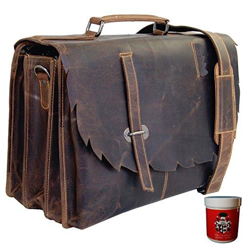 BARON de MALTZAHN Grande serviette MANITU avec compartiment pour ordinateur portable cuir marron + soins en cuir