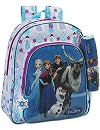 Preisvergleich für Disney Frozen - Die Eiskönigin Anna und Elsa, Rucksack mit Federmäppchen, blau/weiß (615), 38 x 32 x 12 cm