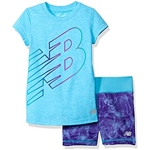 New Balance Little Girls' Short Sleeve Athletic Graphic T-Shirt and Bike Short Set