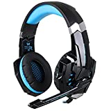 KOTION EACH G9000 3.5mm Noise Cancelling Gaming Headset with Mic & Volume Control Stereo Surround Sound for PC iPhone Samsung Mobile Phones(Black & Blue)