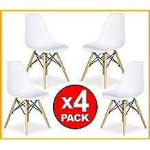 LIQUIDATODO ® - Conjunto PACK 4 SILLAS comedor modernas y baratas estilo Eames Tower en blanco / natural - Topwer