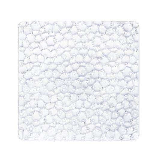 BliGli Non Slip Quadratische Duschmatte für Badezimmerwasserwürfel Durchsichtige PVC Anti-Schimmel Antirutsch Badematte mit Grip Saugnäpfen54*54CM (Clear) Rutschfeste Non-slip
