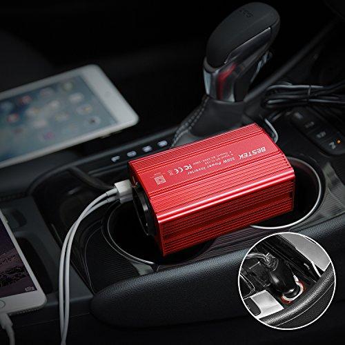 Inversor De Corriente 300W para Coche, BESTEK Transformador De 12v A 220v, Inversor con 1 Toma Enchufe Y 2 Puertos USB De 3,1 para iPhone, iPad Y Tableta