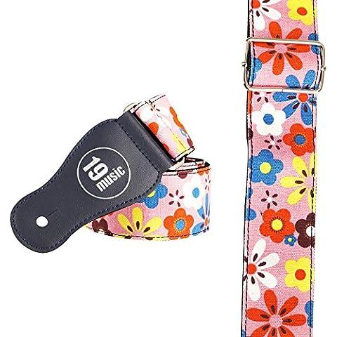 Diseño de flor rosa diseño de arte el bajo de la guitarra de la correa de la