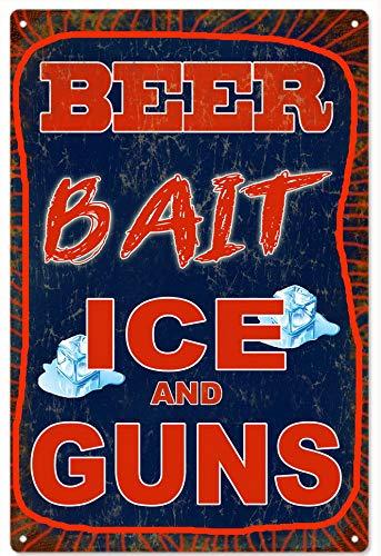 ABLERTRADE Türschild Fisherman's Beer Bait Ice and Guns Garage Art Schild Metall Wand Home Pub Decor Sign 20,3 x 30,5 cm (Ice Gun)