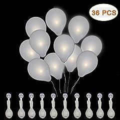 Idea Regalo - Amaza Palloncini LED, 36pcs Palloncini Luminosi Palloncini Bianchi Luce Led Bianca Decorazioni Compleanno Matrimoni Festa 30 cm (Bianco) (36 Pezzi)