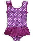Sociala Baby Mädchen Einteiler Badeanzug mit Rock Punkte Print Breite Träger Schwimmanzug Violett 12-18 Monate