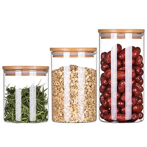 WWJHH-Food storage box Aufbewahrungsbox FüR KüChe VorratsbehäLter FüR Lebensmittel Set [3 SäTze] Haushaltsdosen Aus Transparentem Glas Mit DeckelbehäLter (Glas Food Set Storage)