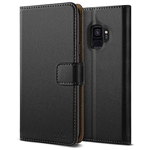 HOOMIL Cover per Samsung S9, Cover per Galaxy S9, Flip Case in Pelle PU Premium Custodia per Samsung Galaxy S9 Smartphone, Nero