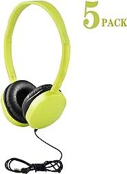 5Pack Kids Headphones/Earbuds/Earphones for Classroom, HONGZAN Bulk Headphones for School Classroom, Libraries, Museums, Labo
