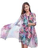 Chiffon Schal Für Kleider in Verschiedenen Farben Blumen Gedruckt Sonnenschutz Damen Urlaub am Meer Schal 2 Lila
