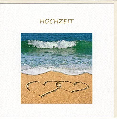 Fine Art Hochzeitskarte Herzen im Sand
