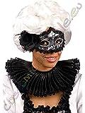 Gorgiera nera colletto plissettato con merletto