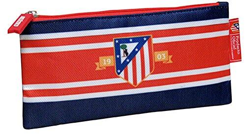 Atletico de Madrid- Estuche portatodo Plano Bordado,, 21 cm (CYP Imports PT-221-ATL)