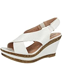 77d4e0d38ef Ladies Cushion Walk Wide E Fit Leather Lined Wedge Peep Toe Strappy Summer  Sandal Size 3