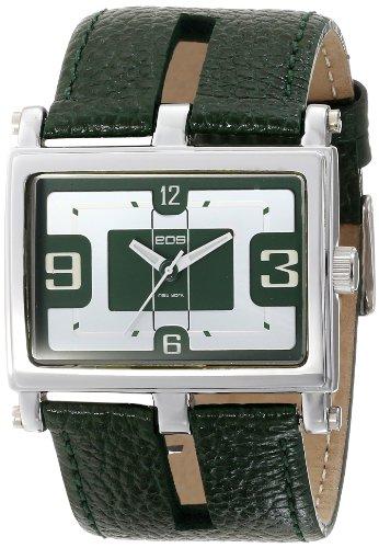 EOS New York Unisex 119LGRN Slit Green Leather Strap Watch