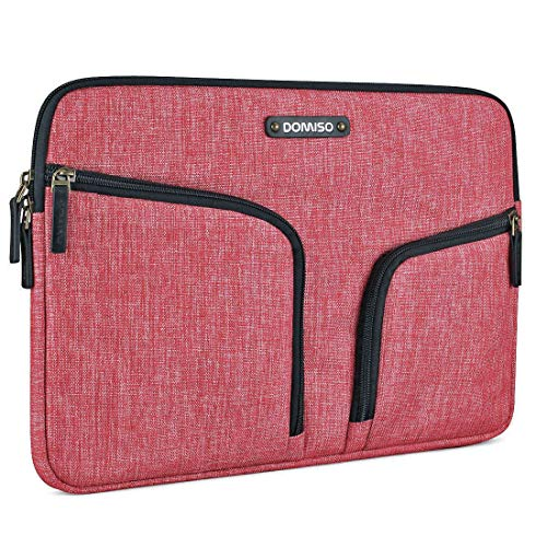 DOMISO 14 Pollici Custodia Borsa Sleeve con 2 Tasche Resistente all'Acqua per Computer Portatile/Notebook/Apple/HP Stream 14 Pavilion 14 / Acer Aspire 1 Swift 3 / dell/ASUS, Rosso