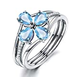 Epinki Plata de Ley 925 Anillo Flores Anillo Solitario Mujeres Anillo de Confianza Azul con Azul Topacio