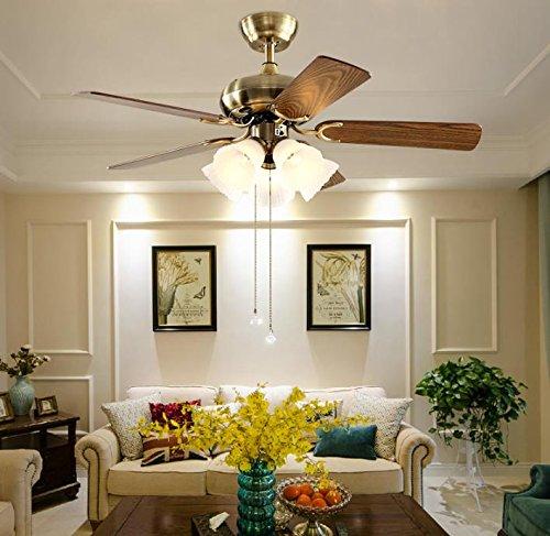 %lampada ventilatore luce ventilatore a soffitto luce sala da pranzo sala da pranzo lampada home atmosfera moderno e minimalista lampadario europeo motore in rame (colore : grande)