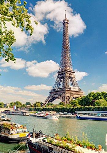Paris Seine-touren (XXL Poster 100 x 70cm (S-833) Eiffelturm in Frankreich / Paris am Seine Ufer (Lieferung gerollt!))