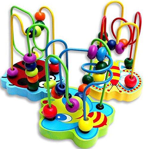 LCLrute Kinder Baby bunte hölzerne Mini Rund Perlen Lernspiel -Spielzeug für 0-3 Jahre alt Kinder