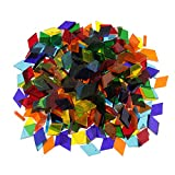 Segolike 250 Pieces Rhombus Shape Mixed Color Clear Glass Mosaic Tiles Tessera for Mosaic Making Crafts Supplies 11mm