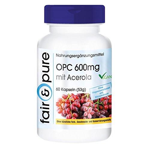 OPC 600mg mit Acerola, vegan, hochdosierter Traubenkernextrakt mit natürlichem Vitamin C, ohne Magnesiumstearat, 60 OPC-Kapseln (Vitamin Plus Acerola)