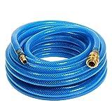 as - Schwabe Druckluftschlauch-Garnitur mit Polyestergewebeeinlage Serie 2050 - 5 m PVC-Druckluft-Schlauch 9 x 3 mm mit Schnellverschlusskupplung & Stecktülle - Blau I 12705