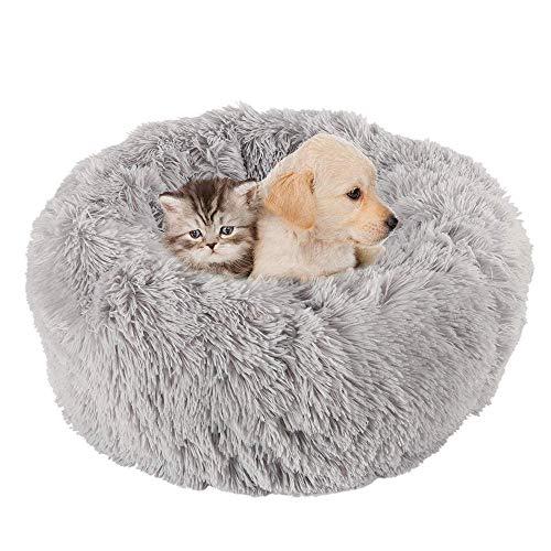 KongEU Rundes Ultra Weicher Plüsch Kuschelkissen für Welpen,Katze,weiches Hundesofa,Kuschel-Nest,Bett für kleine und mittelgroße Hunde und Katzen,waschbar-M:60CM-hellgrau -
