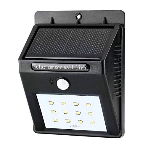 Solarleuchten Lampe LED Wandleuchte Sensor Licht,Jaminy 4 Stücke 12LED Solar Power PIR Bewegungssensor Wandleuchte Im Freien Wasserdichte Garten (Bewegungs-sensor Mit Blitzlicht)