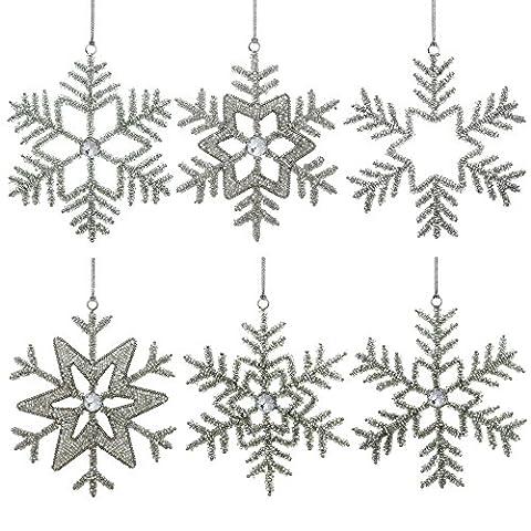 Satzvon6handgefertigteSchneeflockeEisenundGlasAnhängerChristbaumschmuck Silber WeihnachtenOrnamenteSet,22 Cm