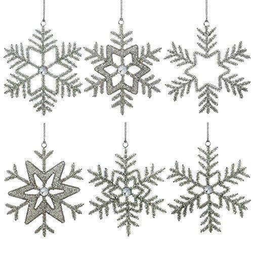 Fiocco di neve decorazioni partito glitter ciondoli 15,24 centimetri set di 6