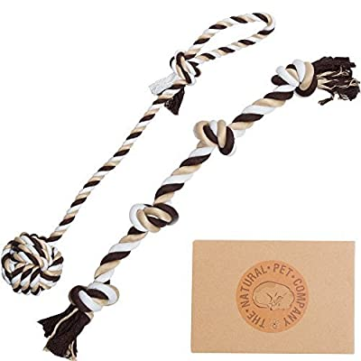 Two Fantastic Quality Dog Toys in Beautiful Gift Box by The Natural Pet Company (Tug-of-War Dog Rope Toy Double Pack) (For Interactive Play With Your Dog).