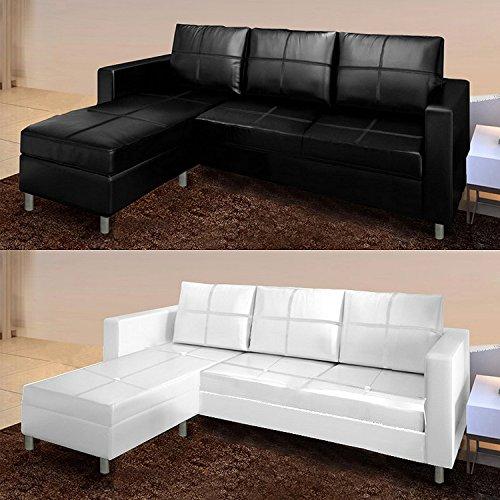 Bagno italia divano angolare moderno ecopelle con pouf sofa soggiorno bianco nero 3 posti