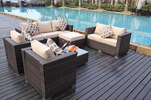 Yakoe 51015 New Rattan Garden Furniture Table Chairs Sofa Set – Brown