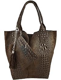 5b70e72ea5705 Freyday Damen Echtleder Shopper mit Schmucktasche in vielen Farben  Schultertasche Henkeltasche Handtasche Metallic look