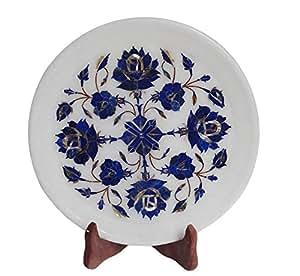"""9 X9 """"marbre Blanc-Assiette-Plateau de service Motif pierre Lapis Lazuli marqueterie Art Decor"""