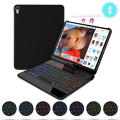 seenda Tastatur Hülle Kompatibel mit iPad Pro 11 Zoll 2018,7 Farbe Hintergrundbeleuchtung 360 Grad Drehbare Bluetooth Tastatur Schutzhülle mit Auto Schlaf/Aufwach Funktion,QWERTZ Deutsches,Schwarz 11 Bluetooth